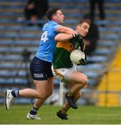 23 May 2021; Stephen O'Brien of Kerry is tackled by Philip McMahon of Dublin resulting in a penalty for Kerry during the Allianz Football League Division 1 South Round 2 match between Dublin and Kerry at Semple Stadium in Thurles, Tipperary. Photo by Stephen McCarthy/Sportsfile