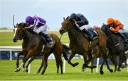 23 May 2021; Empress Josephine, right, with Seamie Heffernan up, races alongside eventual second place Joan Of Arc, left, with Ryan Moore up, on their way to winning the Tattersalls Irish 1,000 Guineas during day two of the Tattersalls Irish Guineas Festival at The Curragh Racecourse in Kildare. Photo by Seb Daly/Sportsfile
