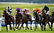 23 May 2021; Empress Josephine, right, with Seamie Heffernan up, races up the home straight on their way to winning the Tattersalls Irish 1,000 Guineas, from second place Joan Of Arc, second left, with Ryan Moore up, and No Speak Alexander, with Shane Foley up, during day two of the Tattersalls Irish Guineas Festival at The Curragh Racecourse in Kildare. Photo by Seb Daly/Sportsfile