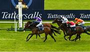 23 May 2021; Empress Josephine, 2, with Seamie Heffernan up, passes the post ahead of second place Joan Of Arc, 6, with Ryan Moore up, to win the Tattersalls Irish 1,000 Guineas during day two of the Tattersalls Irish Guineas Festival at The Curragh Racecourse in Kildare. Photo by Seb Daly/Sportsfile