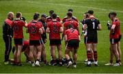23 May 2021; Down manager Paddy Tally talks to his players at the water break during the Allianz Football League Division 2 North Round 2 match between Down and Meath at Athletic Grounds in Armagh. Photo by David Fitzgerald/Sportsfile