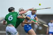 23 May 2021; Jack Fagan of Waterford in action against Declan Hannon, left, and Kyle Hayes of Limerick during the Allianz Hurling League Division 1 Group A Round 3 match between Waterford and Limerick at Walsh Park in Waterford. Photo by Sam Barnes/Sportsfile