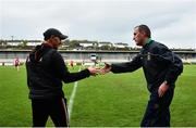 23 May 2021; Down manager Paddy Tally, left, and Meath manager Andy McEntee shake hands following the Allianz Football League Division 2 North Round 2 match between Down and Meath at Athletic Grounds in Armagh. Photo by David Fitzgerald/Sportsfile