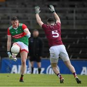 22 May 2021; Matthew Ruane of Mayo in action against James Dolan of Westmeath during the Allianz Football League Division 2 North Round 2 match between Westmeath and Mayo at TEG Cusack Park in Mullingar, Westmeath. Photo by Stephen McCarthy/Sportsfile