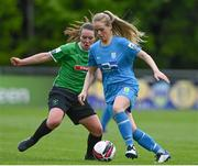 22 May 2021; Ciara Maher of DLR Waves in action against Lucy McCartan of Peamount United during the SSE Airtricity Women's National League match between DLR Waves and Peamount United at UCD Bowl in Belfield, Dublin. Photo by Sam Barnes/Sportsfile