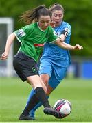 22 May 2021; Sabhdh Doyle of Peamount United in action against Rachel Doyle of DLR Waves during the SSE Airtricity Women's National League match between DLR Waves and Peamount United at UCD Bowl in Belfield, Dublin. Photo by Sam Barnes/Sportsfile