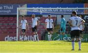 24 May 2021; Dundalk players, from left, Cameron Dummigan, Chris Shields, Andy Boyle and Alessio Abibi after thier side conceded a fourth goal during the SSE Airtricity League Premier Division match between Bohemians and Dundalk at Dalymount Park in Dublin. Photo by Seb Daly/Sportsfile