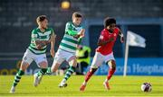24 May 2021; Walter Figueira of Sligo Rovers in action against Lee Grace, left, and Sean Gannon of Shamrock Rovers during the SSE Airtricity League Premier Division match between Shamrock Rovers and Sligo Rovers at Tallaght Stadium in Dublin. Photo by Stephen McCarthy/Sportsfile