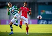 24 May 2021; Graham Burke of Shamrock Rovers in action against Greg Bolger of Sligo Rovers during the SSE Airtricity League Premier Division match between Shamrock Rovers and Sligo Rovers at Tallaght Stadium in Dublin. Photo by Stephen McCarthy/Sportsfile