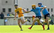 22 May 2021; Ciaran Clarke of Antrim in action against Cian O'Callaghan and Conor Burke of Dublin during the Allianz Hurling League Division 1 Round 3 match between Dublin and Antrim in Parnell Park in Dublin. Photo by Brendan Moran/Sportsfile