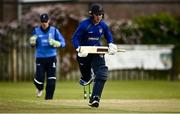 25 May 2021; Stephen Doheny of North West Warriors makes a run during the Cricket Ireland InterProvincial Cup 2021 match between North West Warriors and Leinster Lightning at Eglinton Cricket Club in Derry. Photo by David Fitzgerald/Sportsfile