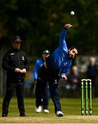 25 May 2021; Simi Singh of Leinster Lightning bowls during the Cricket Ireland InterProvincial Cup 2021 match between North West Warriors and Leinster Lightning at Eglinton Cricket Club in Derry. Photo by David Fitzgerald/Sportsfile