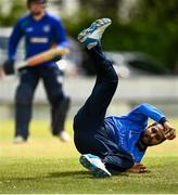 25 May 2021; Simi Singh of Leinster Lightning in action during the Cricket Ireland InterProvincial Cup 2021 match between North West Warriors and Leinster Lightning at Eglinton Cricket Club in Derry. Photo by David Fitzgerald/Sportsfile
