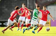 24 May 2021; Graham Burke of Shamrock Rovers in action against Greg Bolger, right, and Jordan Gibson of Sligo Rovers during the SSE Airtricity League Premier Division match between Shamrock Rovers and Sligo Rovers at Tallaght Stadium in Dublin. Photo by Stephen McCarthy/Sportsfile