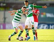 24 May 2021; Gary O'Neill, left, and Graham Burke of Shamrock Rovers in action against Robbie McCourt of Sligo Rovers during the SSE Airtricity League Premier Division match between Shamrock Rovers and Sligo Rovers at Tallaght Stadium in Dublin. Photo by Stephen McCarthy/Sportsfile