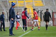 9 May 2021; Billy Hennessy of Cork leaves the pitch to receive medical attention for an injury during the Allianz Hurling League Division 1 Group A Round 1 match between Cork and Waterford at Páirc Ui Chaoimh in Cork. Photo by Piaras Ó Mídheach/Sportsfile