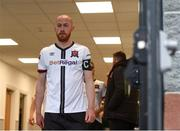 21 May 2021; Chris Shields of Dundalk leads his side out before the SSE Airtricity League Premier Division match between Dundalk and Shamrock Rovers at Oriel Park in Dundalk, Louth. Photo by Ben McShane/Sportsfile