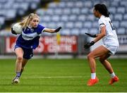 23 May 2021; Laura Nerney of Laois in action against Grace Clifford of Kildare during the Lidl Ladies Football National League Division 3B Round 1 match between Laois and Kildare at MW Hire O'Moore Park in Portlaoise, Laois. Photo by Piaras Ó Mídheach/Sportsfile