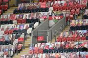 28 May 2021; Photographs of supporters in the stand before the Guinness PRO14 Rainbow Cup match between Munster and Cardiff Blues at Thomond Park in Limerick. Photo by Piaras Ó Mídheach/Sportsfile