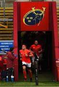 28 May 2021; CJ Stander of Munster leads the team out for the last time in Thomond Park before the start of the Guinness PRO14 Rainbow Cup match between Munster and Cardiff Blues at Thomond Park in Limerick. Photo by Matt Browne/Sportsfile