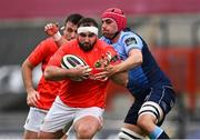 28 May 2021; James Cronin of Munster is tackled by Cory Hill of Cardiff Blues during the Guinness PRO14 Rainbow Cup match between Munster and Cardiff Blues at Thomond Park in Limerick. Photo by Piaras Ó Mídheach/Sportsfile