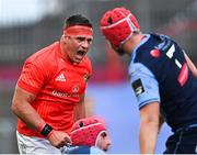 28 May 2021; CJ Stander of Munster celebrates a turnover during the Guinness PRO14 Rainbow Cup match between Munster and Cardiff Blues at Thomond Park in Limerick. Photo by Piaras Ó Mídheach/Sportsfile