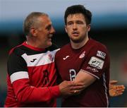28 May 2021; Cobh Ramblers head coach Stuart Ashton with Jake Hegarty following the SSE Airtricity League First Division match between Cobh Ramblers and Cork City at St Colman's Park in Cobh, Cork. Photo by Michael P Ryan/Sportsfile