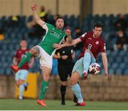 28 May 2021; Gearóid Morrissey of Cork City in action against Jake Hegarty of Cobh Ramblers during the SSE Airtricity League First Division match between Cobh Ramblers and Cork City at St Colman's Park in Cobh, Cork. Photo by Michael P Ryan/Sportsfile