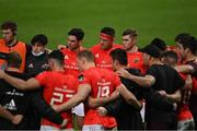 28 May 2021; CJ Stander of Munster with his team-mates in the huddle after their win in the Guinness PRO14 Rainbow Cup match between Munster and Cardiff Blues at Thomond Park in Limerick. Photo by Piaras Ó Mídheach/Sportsfile