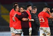 28 May 2021; Munster head coach Johann van Graan hugs CJ Stander of Munster after Stander played his last game for Munster at Thomond Park at the Guinness PRO14 Rainbow Cup match between Munster and Cardiff Blues at Thomond Park in Limerick. Photo by Piaras Ó Mídheach/Sportsfile