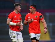 28 May 2021; Munster players Peter O'Mahony, left, and CJ Stander of in conversation during the Guinness PRO14 Rainbow Cup match between Munster and Cardiff Blues at Thomond Park in Limerick. Photo by Piaras Ó Mídheach/Sportsfile