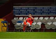 28 May 2021; CJ Stander on the phone pitchside after playing his last game for Munster at Thomond Park at the Guinness PRO14 Rainbow Cup match between Munster and Cardiff Blues at Thomond Park in Limerick. Photo by Piaras Ó Mídheach/Sportsfile