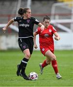 29 May 2021; Edel Kennedy of Wexford Youths in action against Emily Whelan of Shelbourne during the SSE Airtricity Women's National League match between Shelbourne and Wexford Youths at Tolka Park in Dublin. Photo by Piaras Ó Mídheach/Sportsfile