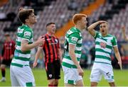 29 May 2021; Rory Gaffney of Shamrock Rovers, centre, reacts after seeing his goal ruled out for a handball, as team-mates Sean Gannon, left, and Graham Burke react to the decision, during the SSE Airtricity League Premier Division match between Longford Town and Shamrock Rovers at Bishopsgate in Longford. Photo by Seb Daly/Sportsfile