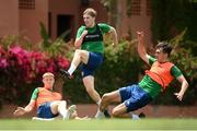 29 May 2021; Luca Connell with Mark McGuinness, left, and Oisin McEntee, right, during a Republic of Ireland U21 training session in Marbella, Spain. Photo by Stephen McCarthy/Sportsfile