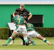 29 May 2021; Ultan Dillane of Connacht is tackled by Marco Riccioni and Michele Lamaro of Benetton during the Guinness PRO14 Rainbow Cup match between Benetton and Connacht at Stadio di Monigo in Treviso, Italy. Photo by Roberto Bregani/Sportsfile