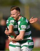 29 May 2021; Sean Hoare, right, and Graham Burke of Shamrock Rovers following their side's victory in the SSE Airtricity League Premier Division match between Longford Town and Shamrock Rovers at Bishopsgate in Longford. Photo by Seb Daly/Sportsfile