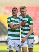 29 May 2021; Graham Burke, left, and Liam Scales of Shamrock Rovers following their side's victory in the SSE Airtricity League Premier Division match between Longford Town and Shamrock Rovers at Bishopsgate in Longford. Photo by Seb Daly/Sportsfile