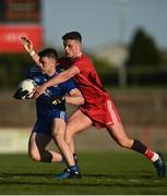 29 May 2021; Karl McMenamin of Monaghan in action against Michael McKernan of Tyrone during the Allianz Football League Division 1 North Round 3 match between Tyrone and Monaghan at Healy Park in Omagh, Tyrone. Photo by David Fitzgerald/Sportsfile