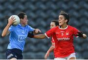 29 May 2021; Hannah Tyrrell of Dublin in action against Erika O'Shea of Cork during the Lidl Ladies National Football League Division 1B Round 1 match between Cork and Dublin at Páirc Ui Chaoimh in Cork. Photo by Eóin Noonan/Sportsfile