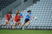 29 May 2021; Hannah Tyrrell of Dublin races clear of Ashling Hutchings of Cork during the Lidl Ladies National Football League Division 1B Round 1 match between Cork and Dublin at Páirc Ui Chaoimh in Cork. Photo by Eóin Noonan/Sportsfile