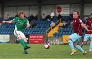 28 May 2021; Alec Byrne of Cork City has a shot on goal despite the attention of David O'Leary of Cobh Ramblers during the SSE Airtricity League First Division match between Cobh Ramblers and Cork City at St Colman's Park in Cobh, Cork. Photo by Michael P Ryan/Sportsfile