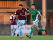 28 May 2021; Jake Hegarty of Cobh Ramblers in action against Cian Coleman of Cork City during the SSE Airtricity League First Division match between Cobh Ramblers and Cork City at St Colman's Park in Cobh, Cork. Photo by Michael P Ryan/Sportsfile