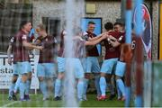28 May 2021; Jake Hegarty of Cobh Ramblers, third from right, celebrates after scoring his side's first goal with team-mates during the SSE Airtricity League First Division match between Cobh Ramblers and Cork City at St Colman's Park in Cobh, Cork. Photo by Michael P Ryan/Sportsfile