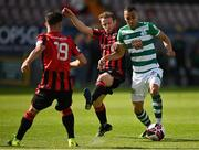 29 May 2021; Graham Burke of Shamrock Rovers in action against Dean Zambra of Longford Town during the SSE Airtricity League Premier Division match between Longford Town and Shamrock Rovers at Bishopsgate in Longford. Photo by Seb Daly/Sportsfile