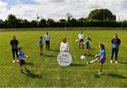 31 May 2021; Glenveagh Homes are the new sponsors of the LGFA's Gaelic4Girls programme. To find out more about Glenveagh Homes, visit https://glenveagh.ie/ . In attendance to mark the announcement at Summerhill GFC in County Meath are, from left, Armagh footballer Aimee Mackin, Abby Gannon, Alex Dalton, Head of Marketing at Glenveagh Homes Cameron McDonnell, LGFA CEO Helen O'Rourke, Head of Construction at Glenveagh Home Barney O'Reilly, Isabelle Foley, Ella McDermott and Roscommon footballer Jennifer Higgins.  Photo by Harry Murphy/Sportsfile