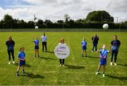 31 May 2021; Glenveagh Homes are the new sponsors of the LGFA's Gaelic4Girls programme. To find out more about Glenveagh Homes, visit https://glenveagh.ie/ . In attendance to mark the announcement at Summerhill GFC in County Meath are, from left, Armagh footballer Aimee Mackin, Abby Gannon, Alex Dalton, Head of Marketing at Glenveagh Homes Cameron McDonnell, LGFA CEO Helen O'Rourke, Aftersales Manager at Glenveagh Homes Anne Marie McGill, Isabelle Foley, Ella McDermott and Roscommon footballer Jennifer Higgins.  Photo by Harry Murphy/Sportsfile