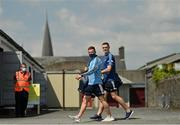 30 May 2021; Ciarán Kilkenny, left, and Brian Fenton of Dublin arrive prior to the Allianz Football League Division 1 South Round 3 match between Galway and Dublin at St Jarlath's Park in Tuam, Galway. Photo by Ramsey Cardy/Sportsfile
