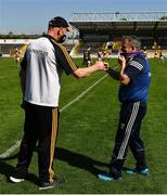30 May 2021; Kilkenny manager Brian Cody, left. and Wexford manager Davy Fitzgerald fist-bump after the Allianz Hurling League Division 1 Group B Round 3 match between Kilkenny and Wexford at UPMC Nowlan Park in Kilkenny. Photo by Ray McManus/Sportsfile