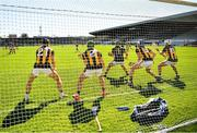 30 May 2021; Kilkenny players Conor Fogarty, 21, Tommy Walsh, 2, goalkeeper Eoin Murphy, Huw Lawlor and Pádraig Walsh, right, defend a late Wexford free during the Allianz Hurling League Division 1 Group B Round 3 match between Kilkenny and Wexford at UPMC Nowlan Park in Kilkenny. Photo by Ray McManus/Sportsfile